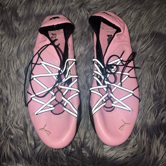 Puma Pink Leather Strappy Ballet Flats Size 8